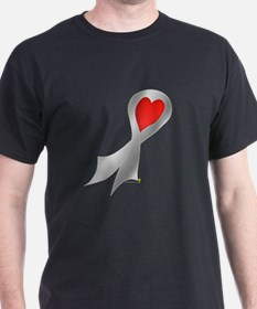 Silver Ribbon with Heart T-Shirt