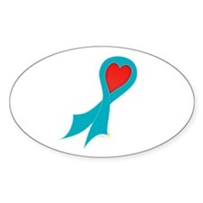 Teal Ribbon with Heart Oval Decal