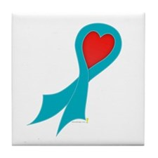 Teal Ribbon with Heart Tile Coaster
