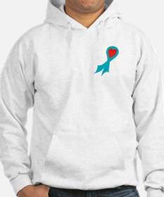 Teal Ribbon with Heart Hoodie