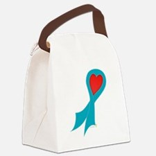 Teal Ribbon with Heart Canvas Lunch Bag