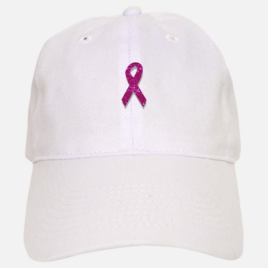 sequin pink breast cancer ribbon Baseball Baseball Cap