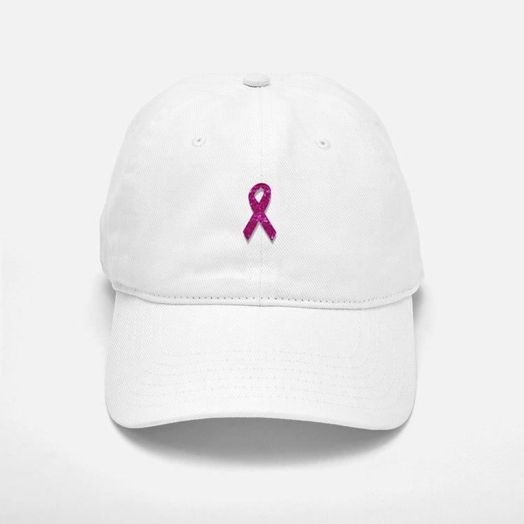 sequin pink breast cancer ribbon Baseball Baseball Cap