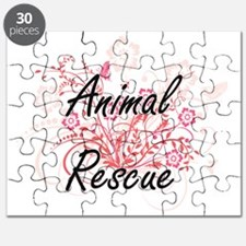 Animal Rescue Artistic Design with Flowers Puzzle