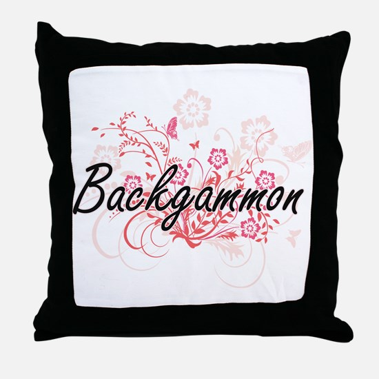 Backgammon Artistic Design with Flowe Throw Pillow