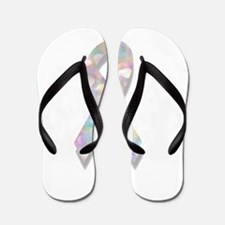pearl lung cancer ribbon Flip Flops