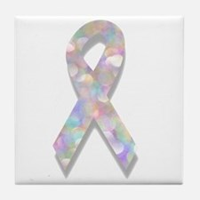 pearl lung cancer ribbon Tile Coaster