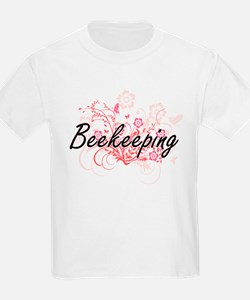 Beekeeping Artistic Design with Flowers T-Shirt