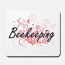 Beekeeping Artistic Design with Flowers Mousepad