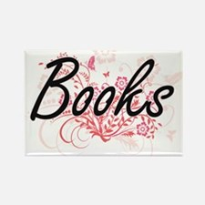 Books Artistic Design with Flowers Magnets