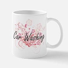 Car Washing Artistic Design with Flowers Mugs