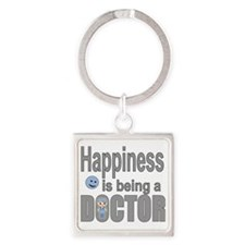 Cute Smiley face mens Square Keychain