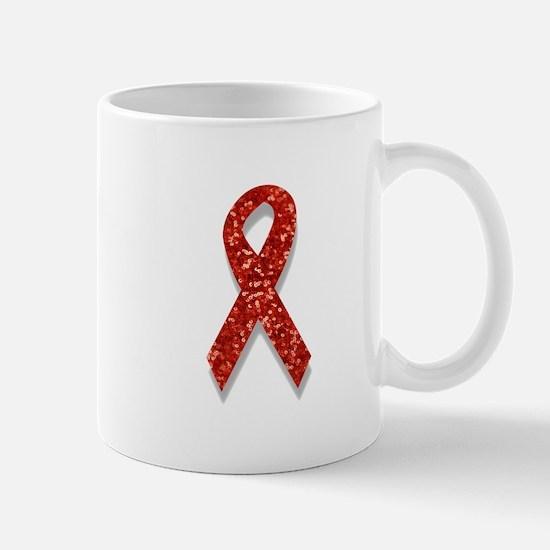 glitter red ribbon Mugs