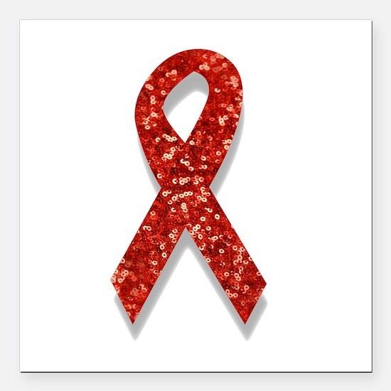 "glitter red ribbon Square Car Magnet 3"" x 3"""