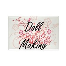 Doll Making Artistic Design with Flowers Magnets