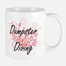 Dumpster Diving Artistic Design with Flowers Mugs