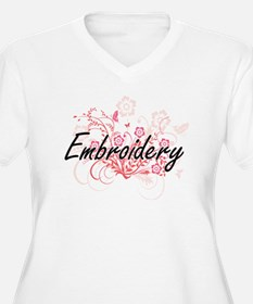 Embroidery Artistic Design with Plus Size T-Shirt