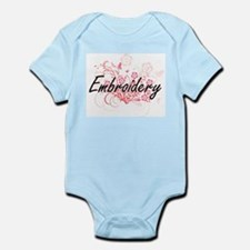 Embroidery Artistic Design with Flowers Body Suit