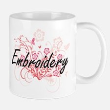Embroidery Artistic Design with Flowers Mugs