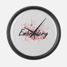 Embroidery Artistic Design with F Large Wall Clock