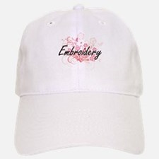 Embroidery Artistic Design with Flowers Baseball Baseball Cap