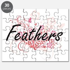 Feathers Artistic Design with Flowers Puzzle