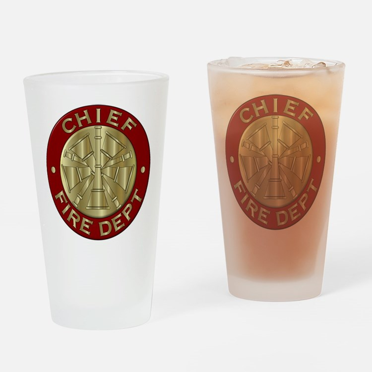 Fire chief brass sybol Drinking Glass