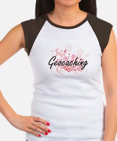 Geocaching Artistic Design with Flowers T-Shirt