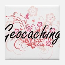 Geocaching Artistic Design with Flowe Tile Coaster