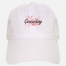 Geocaching Artistic Design with Flowers Baseball Baseball Cap