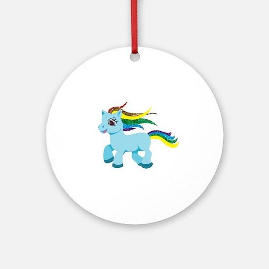 rainbow blue pony Round Ornament
