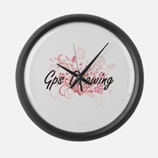 Gps Drawing Artistic Design with Large Wall Clock