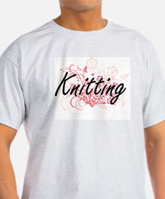 Knitting Artistic Design with Flowers T-Shirt