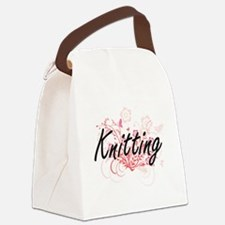 Knitting Artistic Design with Flo Canvas Lunch Bag