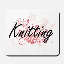Knitting Artistic Design with Flowers Mousepad