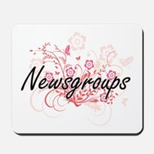 Newsgroups Artistic Design with Flowers Mousepad