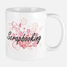 Scrapbooking Artistic Design with Flowers Mugs