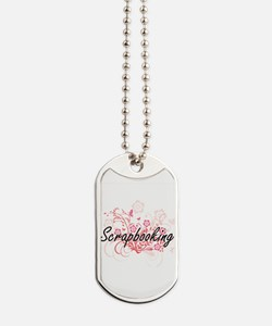 Scrapbooking Artistic Design with Flowers Dog Tags