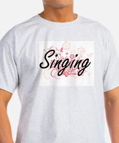 Singing Artistic Design with Flowers T-Shirt