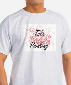 Tole Painting Artistic Design with Flowers T-Shirt