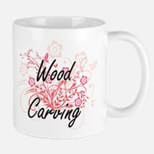 Wood Carving Artistic Design with Flowers Mugs