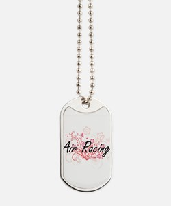 Air Racing Artistic Design with Flowers Dog Tags