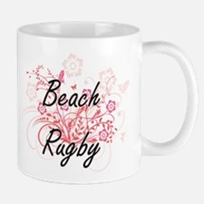Beach Rugby Artistic Design with Flowers Mugs