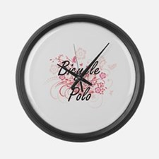 Bicycle Polo Artistic Design with Large Wall Clock