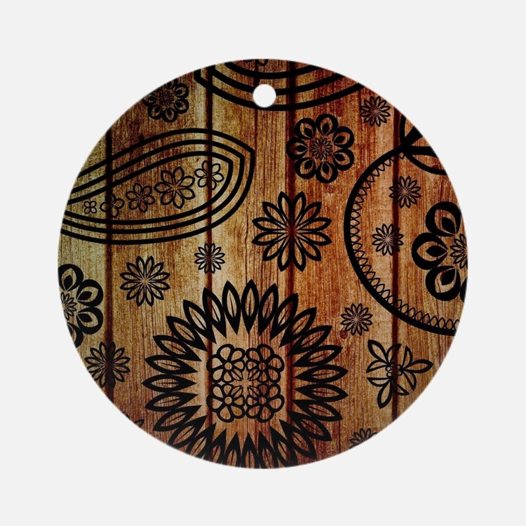 Ornate Wooden Planks Round Ornament