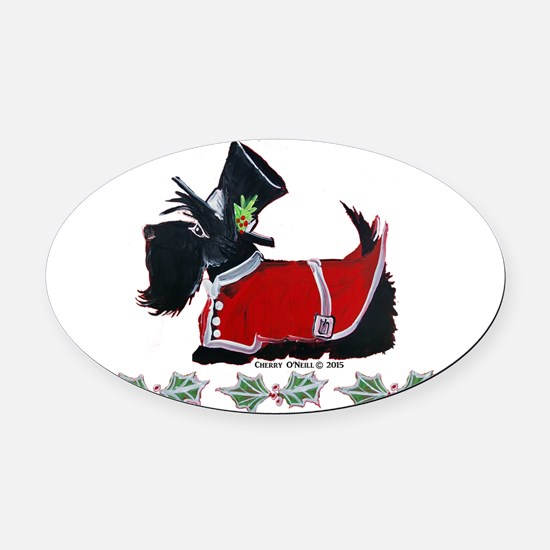 Scottie Christmas Oval Car Magnet