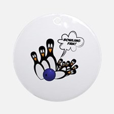 Cute Bowling fan Round Ornament