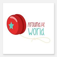 "Around The World Square Car Magnet 3"" x 3"""