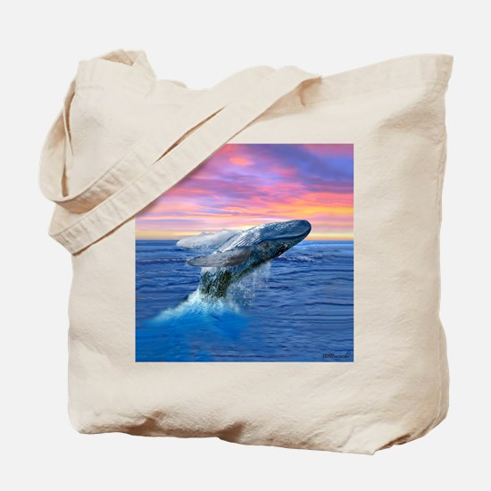 Humpback Whale Breaching at Sunset Tote Bag
