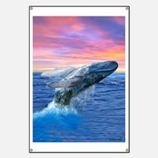 Humpback Whale Breaching at Sunset Banner
